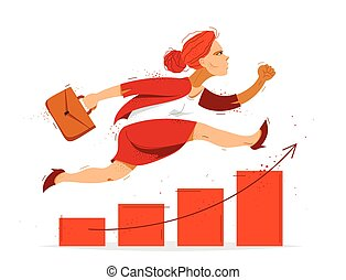 Business woman run and hurry on growth chart graph vector illustration, funny comic cute cartoon accountant or businesswoman worker or employee in a rush to financial success.