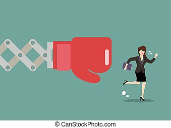 Business woman run away from big boxing glove hand