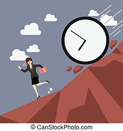 Business woman running away from clock attack