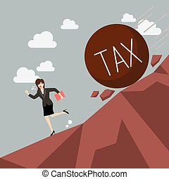 Business woman running away from heavy tax that is rolling down to her