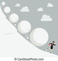 Business woman running away from snowball effect