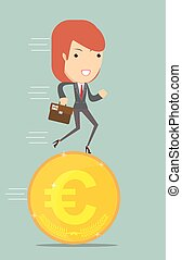 Business woman running on a euro coin