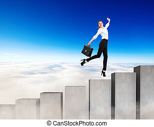Business woman running on the concrete stairs blocks.