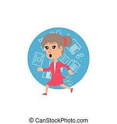 business woman running with set icons office