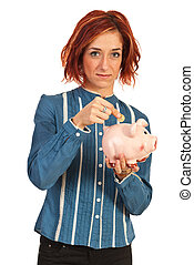 Business woman save money