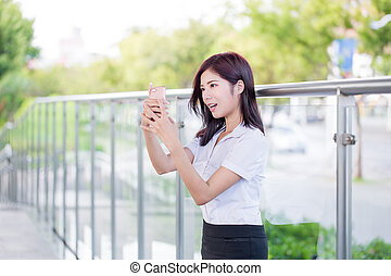 business woman selfie happily