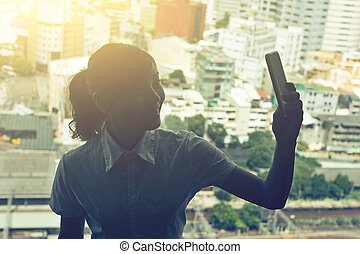 Business woman selfie