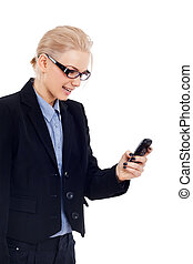 business woman sending a text message - Smiling business...