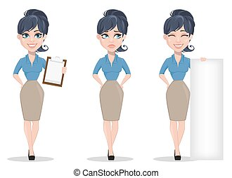 Business woman, set of three poses