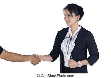 Business woman shake hand with her client