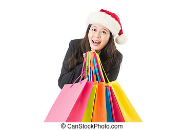 business Woman shopping for christmas gifts