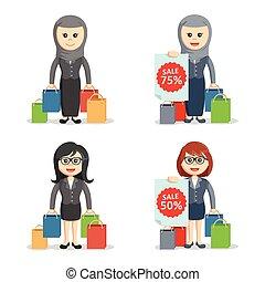 business woman shopping set