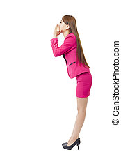business woman shout and scream using her hands as tube
