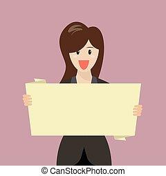 Business woman showing blank board