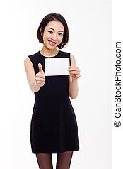 Business woman showing blank card.