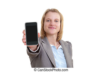 Business Woman Showing blank display of touch mobile phone