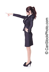 business woman showing copy space by finger