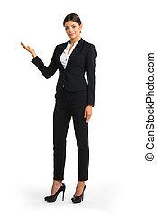 Business woman showing copyspace
