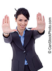 showing framing hand gesture - Business woman showing...