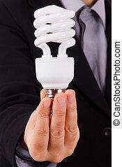 Business Woman Showing Lightbulb