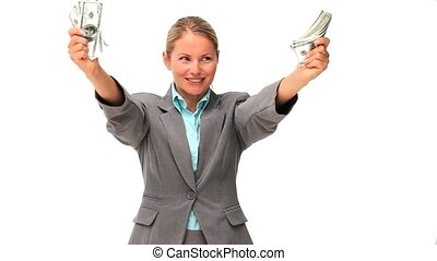 Business woman showing off her mone