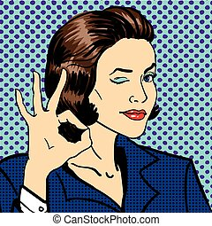 Business woman showing ok sign. Vector illustration in pop...