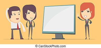 Business woman showing on the board