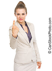 Business woman showing one finger