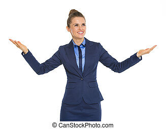 Business woman showing something big