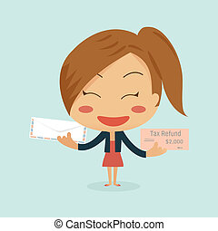 Business woman showing tax refund cheque and envelope which...