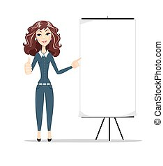 Business woman shows on banner