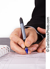 Business Woman Signing Contact