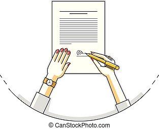 Business woman signs contract official paper document with...