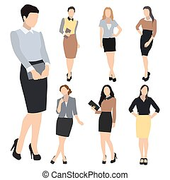 Business woman silhouette vector set - Collection of seven...