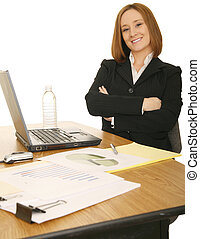 Business Woman Sit By Her Work Station
