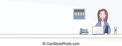 Business Woman Sitting at Desk in Office Working Laptop Computer  Banner