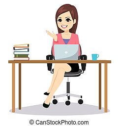 Business Woman Sitting Desk Isolated