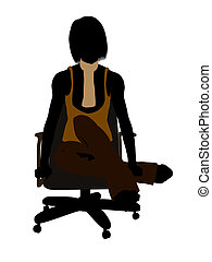 Business Woman Sitting In A Chair Silhouette - Business...
