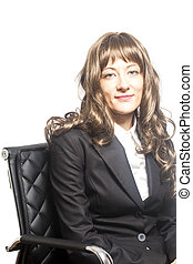 Business woman sitting in chair isolated over white background