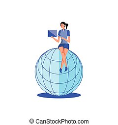 business woman sitting in sphere browser with laptop