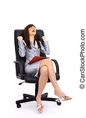 business woman sitting on a chair isolated over white