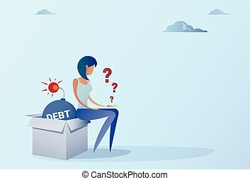 Business Woman Sitting On Bomb Credit Debt Finance Crisis Concept