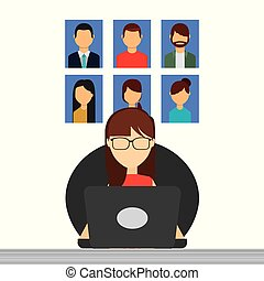 business woman sitting working in laptop people group