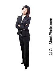 Business woman smile and cross arms