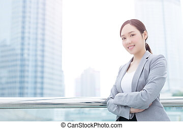 business woman smile and look