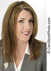 Business Woman Smile - Business headshot of woman in suit.