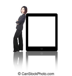 Business woman smile standing with tablet pc
