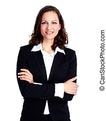 Business woman. - Smiling business woman. Isolated over ...