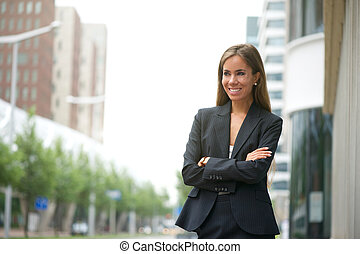 Business woman smiling outdoors