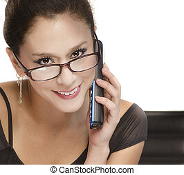 Business woman smiling using phone